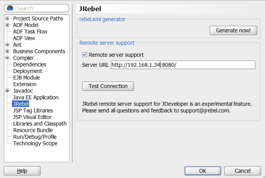 JRebel remote server support in JDeveloper IDE — JRebel 2019