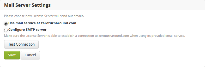 Server configuration — ZeroTurnaround License Server 3 6 0 documentation